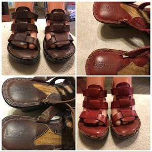 Born leather wedge sandals size 8M